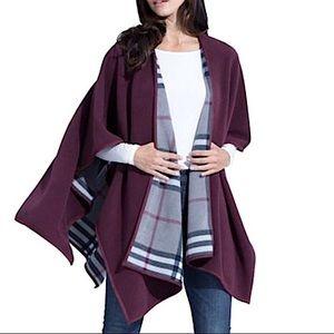 Woolrich reversible poncho plaid fleece burgundy
